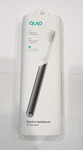 Quip Electric Toothbrush - Slate Metal - Electric Brush and Travel Cover Mount (New Edition)