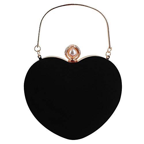 (Buddy Mini Handbag Women Heart Shape Clutch Purse Velvet Shoulder Bag Evening Tote Chain Purse Black02)