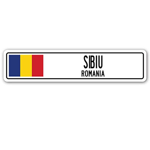 Cortan360 Sibiu Romania Street Sign Decal Romanian Flag City Country Road Wall Gift 8 Sticker Decal Amazon Com