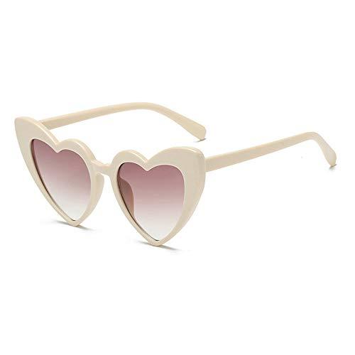 MINCL/New Fashion Love Heart Sexy Shaped Sunglasses For Women Girls Brand Designer Sunglasses UV400 (beige)
