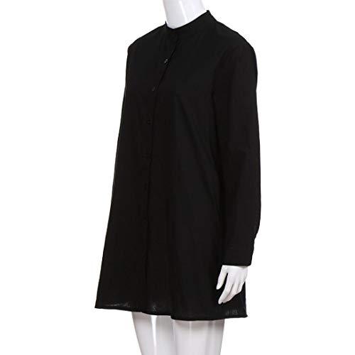 Shirt Chemisier Longue Chic Femme Bouton Casual Grande Unie Lin Tops Noir Mode Taille Manche T Couleur Blouse Sexy qwwgxBFfaS
