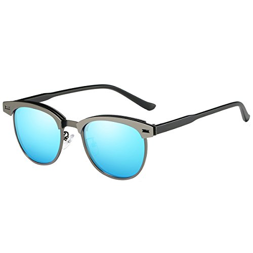 FEIDU Retro Polarized Clubmaster Sunglasses for Men Half Metal Women - With Sunglasses Heads Small Men For