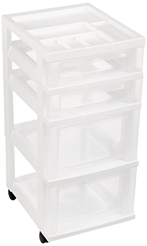 IRIS 4-Drawer Storage Cart with Organize - White Storage Dresser Shopping Results