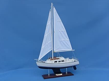 Catalina Yacht 24 Wood Model Sailing Boat Yacht Model Nautical Centerpie