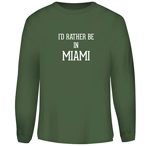 One Legging it Around I'd Rather Be in Miami - Men's Funny Soft Adult Crewneck Sweatshirt, Military, XXX-Large