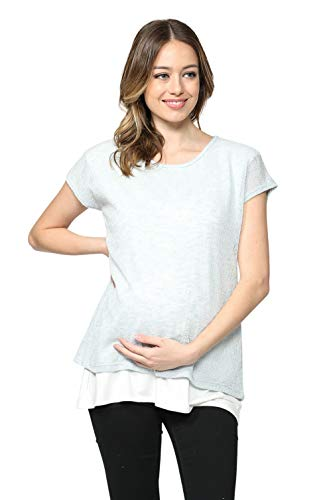 - Hello MIZ Women's Maternity Nursing Tunic Top (Sky Blue/White, XL)