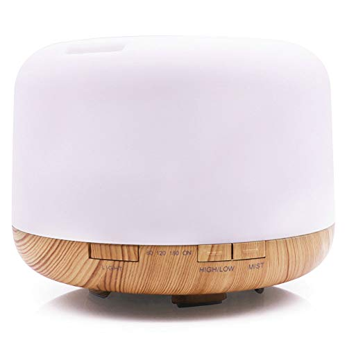 Aimemiy LED Colorful Air Humidifier Mute Household Wood Grain Creative Aromatherapy Machine Bread Rice Cooker Shape Aromatherapy Machine,White