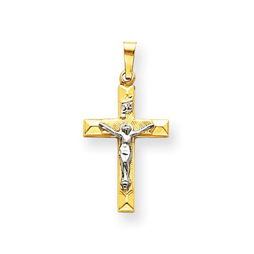 Icecarats Créatrice De Bijoux 14K Bicolore Inri Crucifix Creux Pendentif