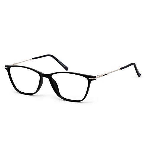 OCCI CHIARI Fashion Women Eyeglasse Thin TR90 Rectangular Eyewear Frames with Clear Lenses(Black,52mm)