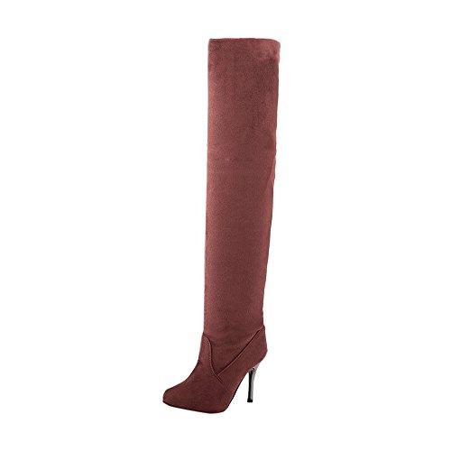 Marron Boots Plateforme Femme Chaussure Bottes Binggong Talons Sexy Botte Aiguille Longue Cuissarde Hiver Haut Chaude Talon zZ84wxBRwq