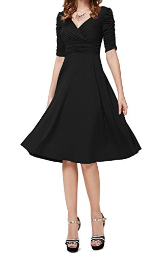 TINYHI 3/4 Sleeve Ruched Waist Elegant V-neck Casual Party Dress – Small, Black