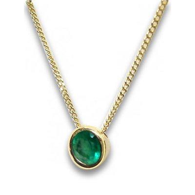 Collier-Or 585-Émeraude-Vert