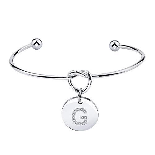 Bracelet Charm Italian Wedding - Dec.bells Jewellery Bridesmaids Gift Tie The Knot Cuff Bangle Single Initial Letters Charm Bracelet Wedding Jewelry (Letter G Silver)