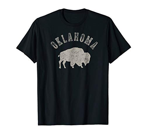 Oklahoma Buffalo Distressed Washed Graphic T-shirt -