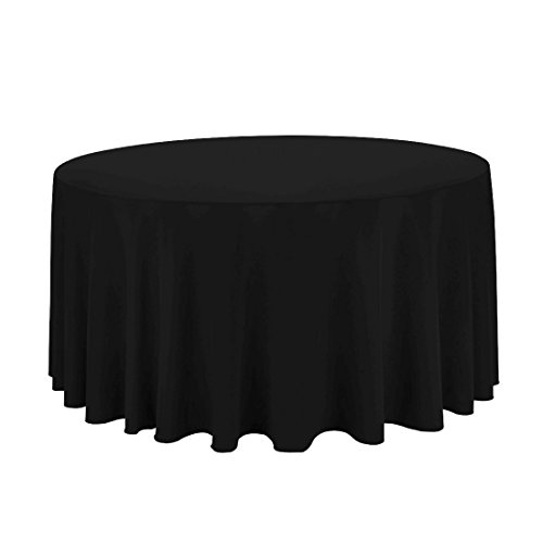Craft and Party - 10 pcs Round Tablecloth for Home, Party, Wedding or Restaurant Use. (Black, 120'' Round) by Craft & Party