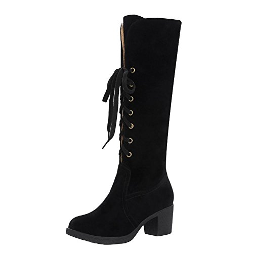 Mee Shoes Damen langschaft chunky heels mit Schnürsenkel Stiefel Schwarz