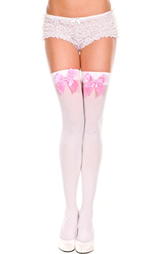 TZSJGL Sexy Women's Opaque Thigh-High Stockings with Satin Bows (One Size, White/Pink)