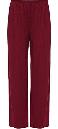 Fancy Wear Pantaloni Leg S XXL Wide Wine Palazzo Ladies Plain a Pants Baggy Islander zampa svasata Fashions Womens Party q7n7vC