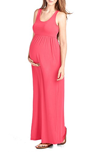 Beachcoco Women's Maternity Maxi Tank Dress (S, Coral)