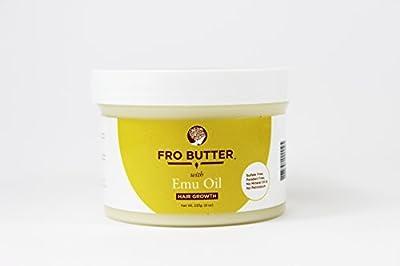Fro Butter Emu Oil Hair Growth Treatment   Shea Butter, Virgin Coconut & Lavender Oil, Pumpkin Seeds & Nourishing Extracts   For Fast Hair Restoration, Split Ends, Damaged & Brittle Hair, Men & Women