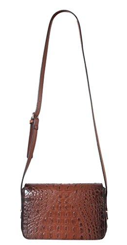 Diophy PU Leather Solid Crocodile Pattern Small Cross Body Handbag Womens Purse (Crocodile Print Patent Bag)