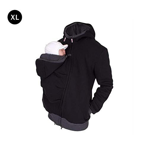 new-look Men Zip Up 2 in 1 Multi-Function Kangaroo Hooded Dad Men's Sweater - Autumn and Winter Dressing Pouch Men Fleece Sweatshirt Hoodie Jacket Dad and Baby Carrier Coat