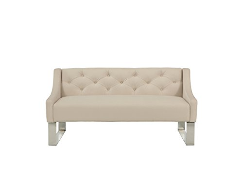 Republic Design House 32341-S Peyton Upholstered Wingback Headboard and Sofa Bench, Queen/Full, Ivory