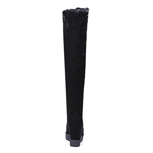 AllhqFashion Mujer Sin cordones Tacón Alto Gamuza(Imitado) Sólido Puntera Redonda Botas Negro