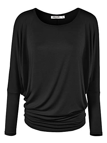 WT826 Womens Batwing Long Sleeve Top XXL Black