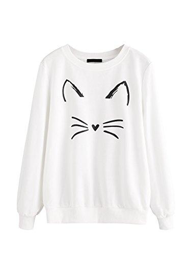 ROMWE Women's Cat Print Sweatshirt Long Sleeve Loose Pullover Shirt White XL