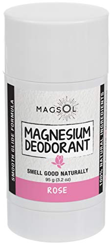 Rose Natural Deodorant with Magnesium - Aluminum Free, Baking Soda Free, Alcohol Free, Cruelty Free, Healthy, Safe, Non Toxic, All Natural, For Women, Men & Kids - 3.2 oz (Lasts -