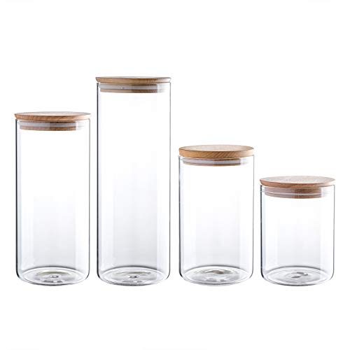 Clear Glass Storage Jar 60/47/34/24oz With Beech Wood Lid Set of 4 Glass Canister With Airtight Lid Food Storage Jar