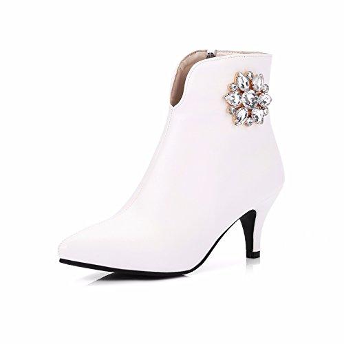 RFF-Women's Shoes Otoño e Invierno Hembra Tipo de Zapato de Tacón Puntiagudo Diamante Botas Zapatos de Tallas White (Terry)