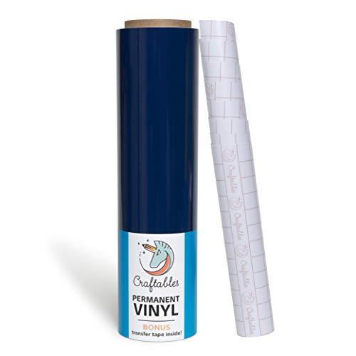 Craftables Navy Blue Vinyl Roll - Permanent, Adhesive, Glossy & Waterproof | 12