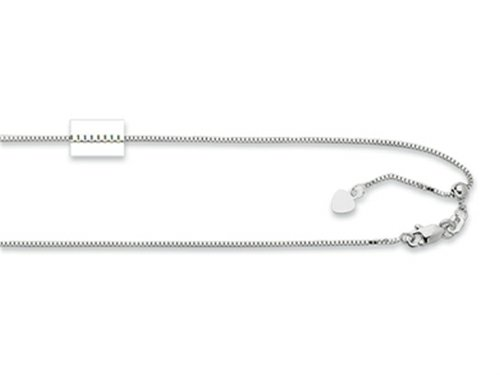 Rhodium Plated 22 Inch bright-cut Adjustable Box Chain Necklace with Lobster Clasp and Small Heart Charm Sterling Silver (Sterling Silver Heart Lobster Claw)