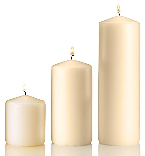 Light In The Dark Vanilla Pillar Candle Variety Set - 3 Vanilla Unscented Pillar Candles - Set Includes 3, 6 and 9 Candle