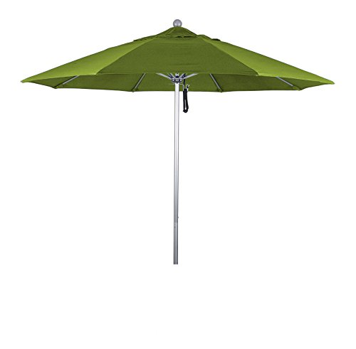 Eclipse Collection 9' Fiberglass Market Umbrella Pulley Open S Anodized/Olefin/Kiwi