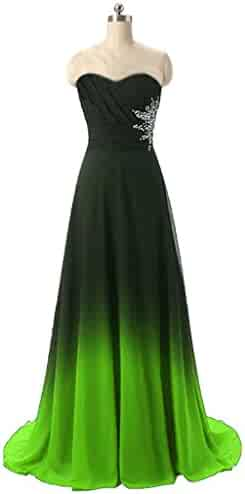 e022ea5ac39 HEAR Women s Gradient Chiffon Long Prom Dress Ombre Beads Evening Party  Gowns Formal Dresses Hear003