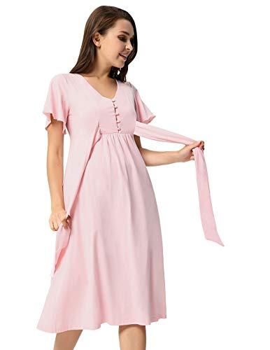 Premaman KARIN a per Incinta Abito in Cotone con Manica Cerimonia Esitivo Vestiti Bottone GRACE Donna Corta V Rosa Scollo fwvaSdfq6