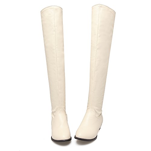 AIWEIYi Over Stretchy Low the Knee Boots Solid Womens Heel Beige Patent Leather 0X10qr
