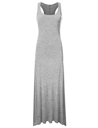 NINEXIS Women's Sleeveless Scoop Neck Racerback Tank Maxi Dress Hgrey -