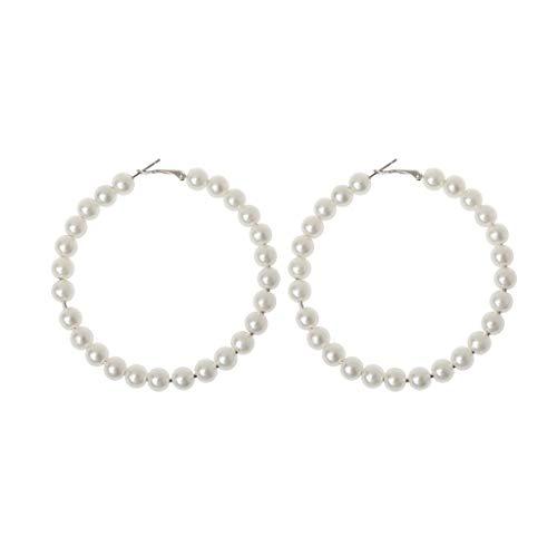Elegant White Pearls Hoop Earrings Women Oversize Pearl Circle Fashion Jewelry
