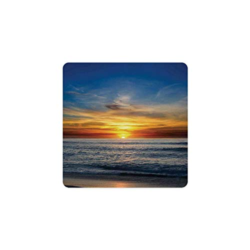 Ocean Decor Square Coaster,Sunset Over the Pacific Ocean From La Jolla California Sunlight Colored Sky Photo Print for Home,3.5