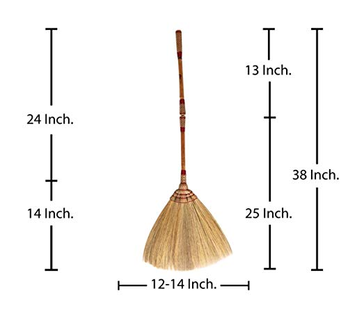 (2 in 1 Natural Grass Broom Dustpan Vintage Style Thai Broom, Broomstick Bamboo Stick Handle Witch Broom Handmade Broom Housewarming Gift Tradition Thailand)