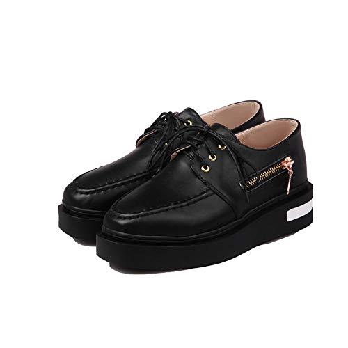 Légeres Talon Femme Correct Chaussures PU TSFDH005723 Cuir Noir à Lacet Unie AalarDom Couleur vnxRpp