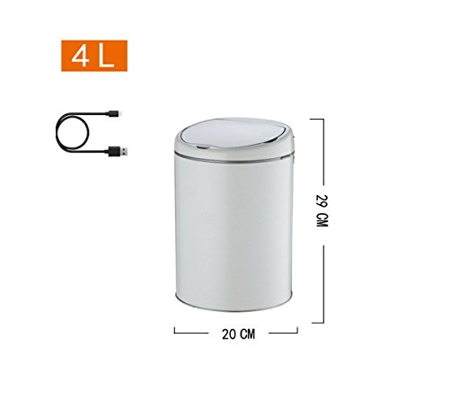 HDWY Round Stainless Steel Automatic Infrared Sensor Trash Hotel Home 4L Intelligent Garbage One-Key Reset Automatic Mode Length 29cm Width 20cm Large Capacity (Color : 7) by HDWY