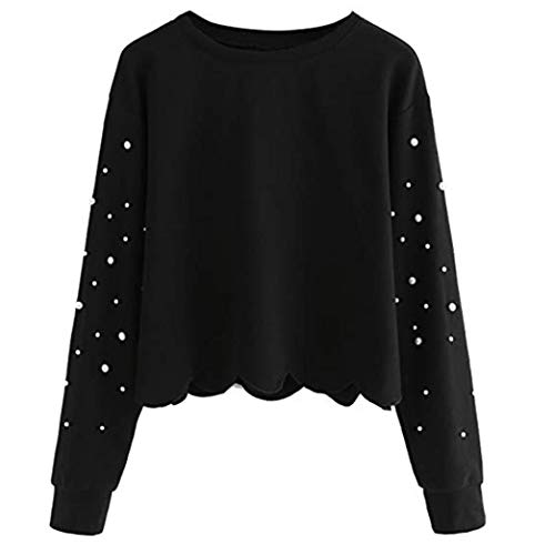 Femme T Rond Col Perlage Shirt Shirt AIMEE7 Tops Noir Haut Longues Sweat Manches Solide YzwFxfqE