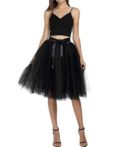 Women's Solid A Line Midi/Knee Length Tutu Skirt 6 Layered Pleated Tulle Petticoat Dance Tutu(Black)]()