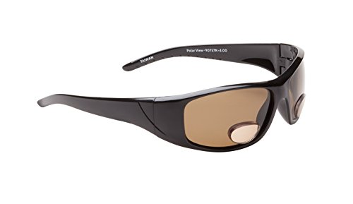 Fisherman Eyewear Polar View Bifocal Sunglasses with Brown Polarized Lens, Black (+3.00)