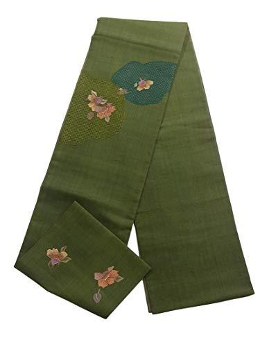 リーン狂乱天才リサイクル 袋帯  紬 刺繍 花模様 正絹 お太鼓柄